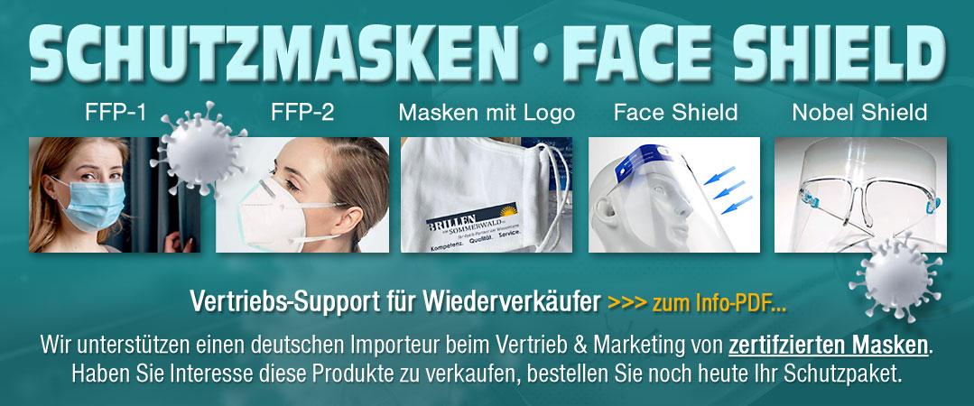 Schutzmasken und Faceshield für den Vertrieb und den Handel